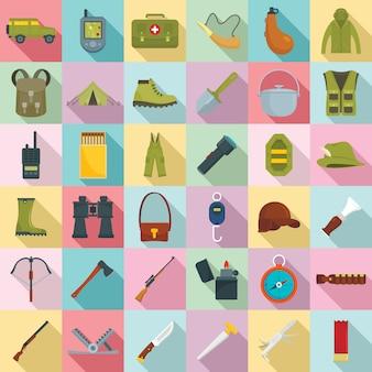Set di icone di attrezzatura da caccia, stile piano