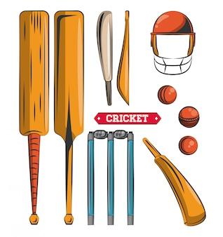 Set di icone di attrezzature di cricket