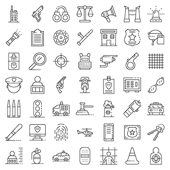 Set di icone di attrezzature di polizia. insieme del profilo delle icone di vettore dell'attrezzatura della polizia