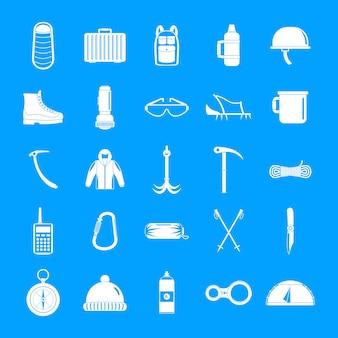 Set di icone di attrezzature per alpinismo, stile semplice
