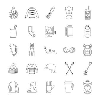 Set di icone di attrezzature per lo snowboard
