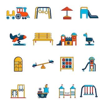 Set di icone di attrezzature per parchi giochi