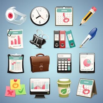 Set di icone di attrezzature per ufficio