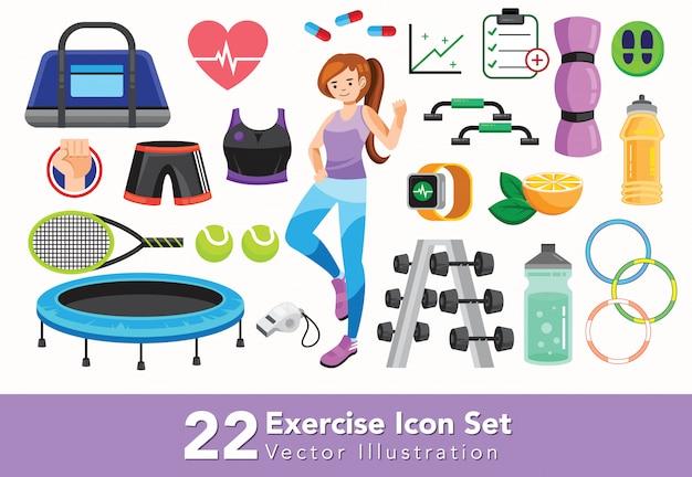 Set di icone di attrezzature sportive e palestra