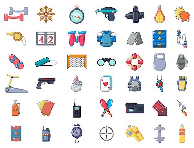 Set di icone di attrezzature sportive. l'insieme del fumetto delle icone di vettore dell'attrezzatura di sport ha messo isolato