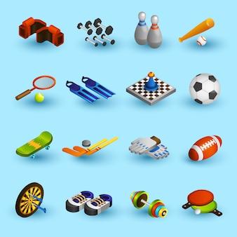 Set di icone di attrezzature sportive