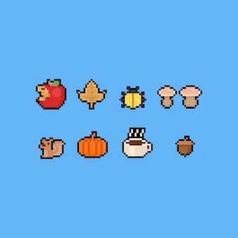 Set di icone di autunno del fumetto di arte del pixel 8 bit.