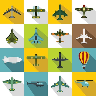Set di icone di aviazione, stile piatto