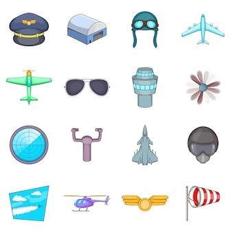 Set di icone di aviazione
