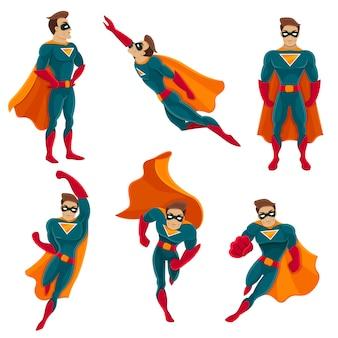 Set di icone di azioni di supereroi