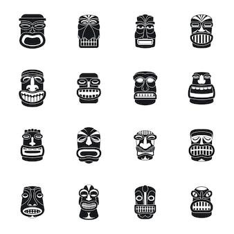 Set di icone di aztec azteco idolo tiki