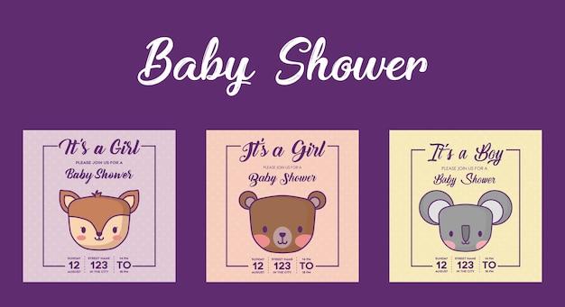 Set di icone di baby shower inviti con simpatici animali su sfondo viola, design colorato. vecto