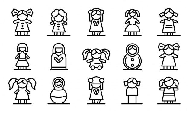 Set di icone di bambola