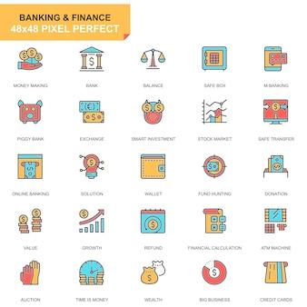 Set di icone di banca e finanza linea piatta