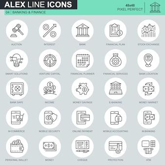 Set di icone di banca e finanza linea sottile