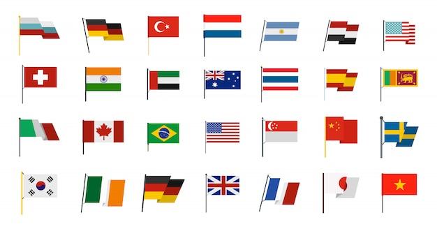 Set di icone di bandiera del paese. insieme piano della raccolta delle icone di vettore della bandiera di paese isolato