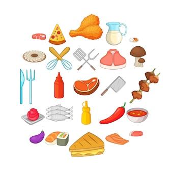 Set di icone di barbecue. un insieme del fumetto di 25 icone del bbq per il web isolato su bianco