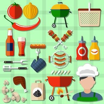 Set di icone di barbecue