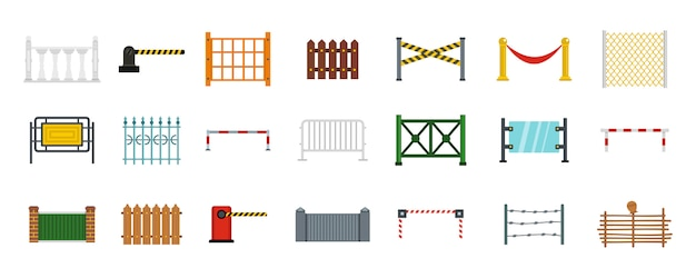 Set di icone di barriera. insieme piano della raccolta delle icone di vettore della barriera isolata