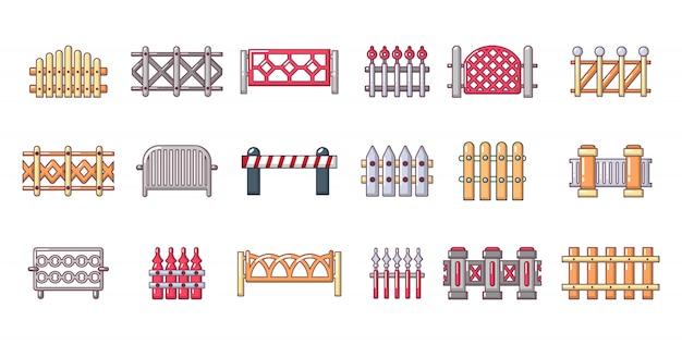 Set di icone di barriera. l'insieme del fumetto delle icone di vettore della barriera ha messo isolato