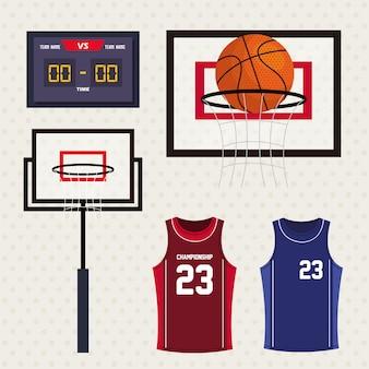 Set di icone di basket, tabellone segnapunti, canestro da basket, canotte