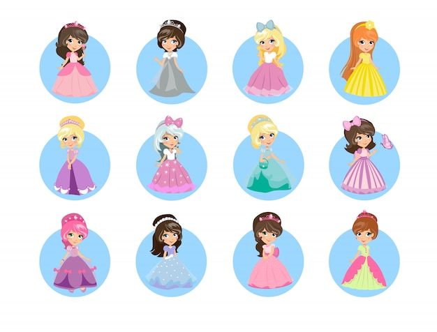 Set di icone di belle principesse dei cartoni animati.