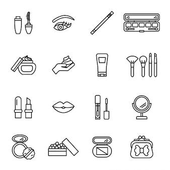 Set di icone di bellezza, cosmetici e trucco.