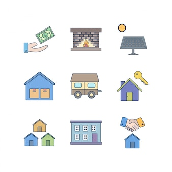 Set di icone di beni immobili per uso personale e commerciale