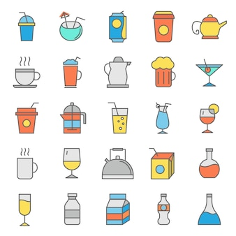 Set di icone di bicchieri di bevande