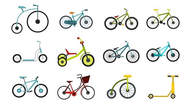 Set di icone di bici. insieme piano della raccolta delle icone di vettore della bici isolato
