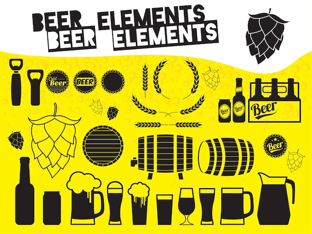 Set di icone di birra in bianco e nero