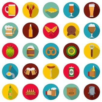 Set di icone di birra, stile piatto