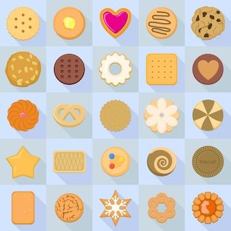 Set di icone di biscotti. set piatto di icone di biscotto per il web design