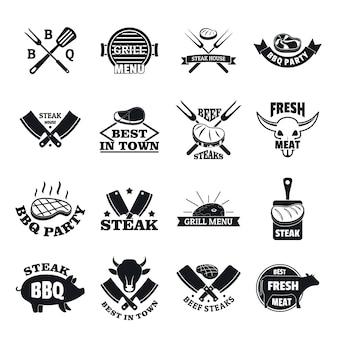 Set di icone di bistecca alla griglia logo bistecca