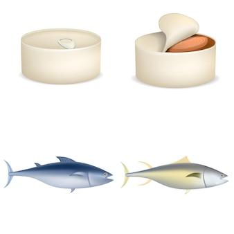 Set di icone di bistecca di pesce tonno. un'illustrazione realistica di 4 pesci del tonno inscatola le icone di vettore di bistecca per il web