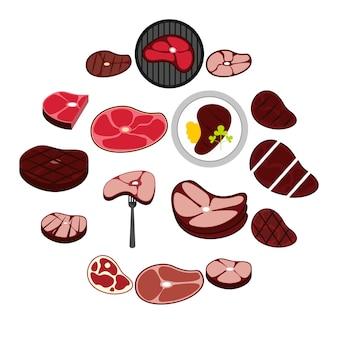 Set di icone di bistecca, stile piano