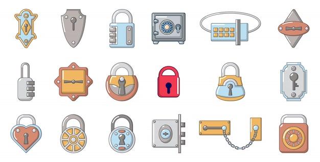 Set di icone di blocco. l'insieme del fumetto delle icone di vettore della serratura ha messo isolato