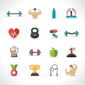 Set di icone di bodybuilding