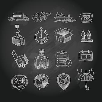 Set di icone di bordo di gesso logistico