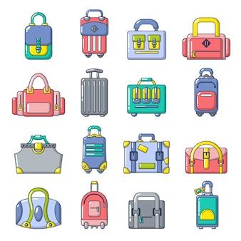Set di icone di borsa bagaglio valigia