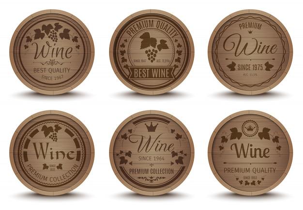 Set di icone di botti di vino