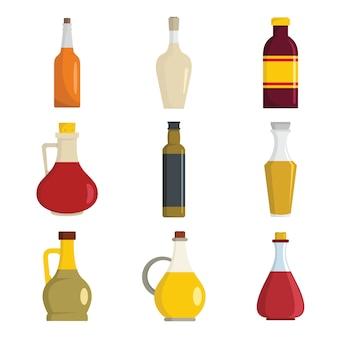 Set di icone di bottiglia di aceto