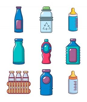 Set di icone di bottiglia di plastica. l'insieme del fumetto delle icone di plastica della bottiglia ha messo isolato