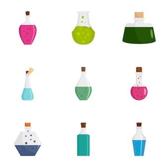 Set di icone di bottiglia di pozione. set piatto di 9 icone di pozione bottiglia