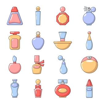 Set di icone di bottiglia di profumo