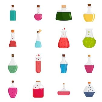 Set di icone di bottiglia magica pozione