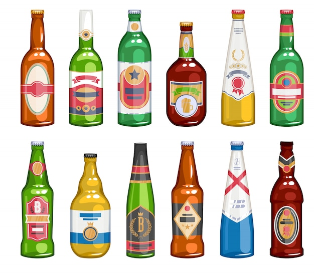 Set di icone di bottiglie di birra.