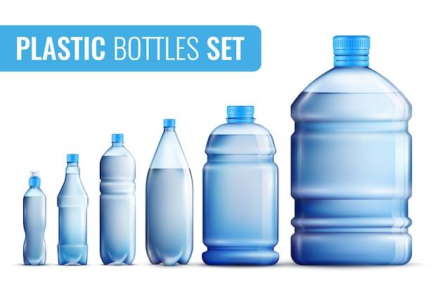 Set di icone di bottiglie di plastica