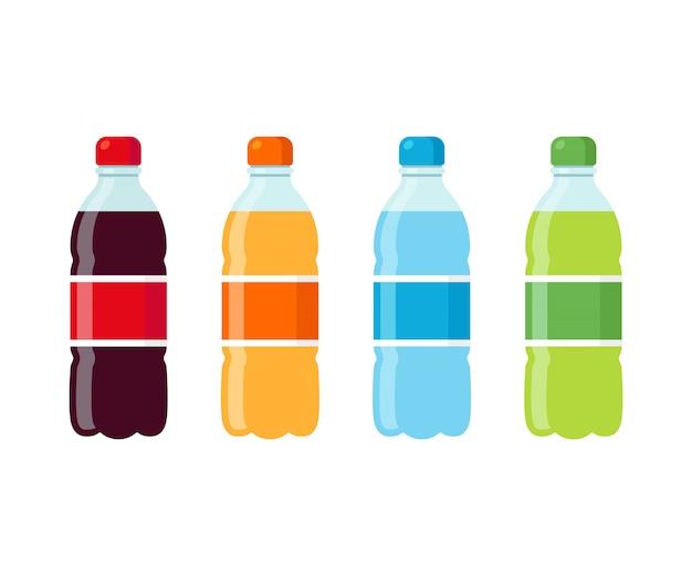 Set di icone di bottiglie di soda