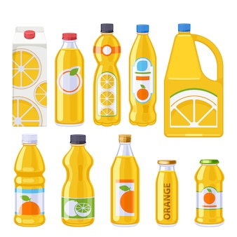 Set di icone di bottiglie di succo d'arancia.